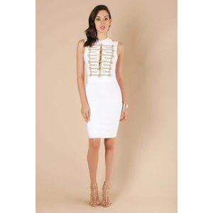 Sleeveless Gold Embroidered Bandage Dress